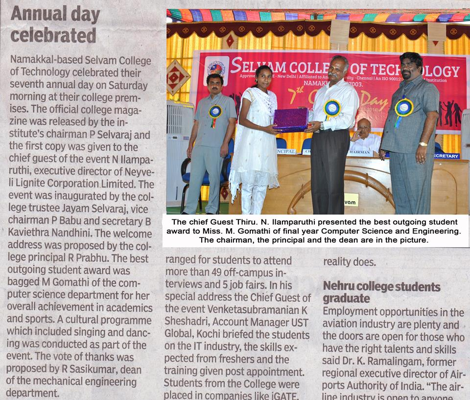 We celebrated 7th Annual Day on Saturday morning 29.03.2014 @ college premises. 1