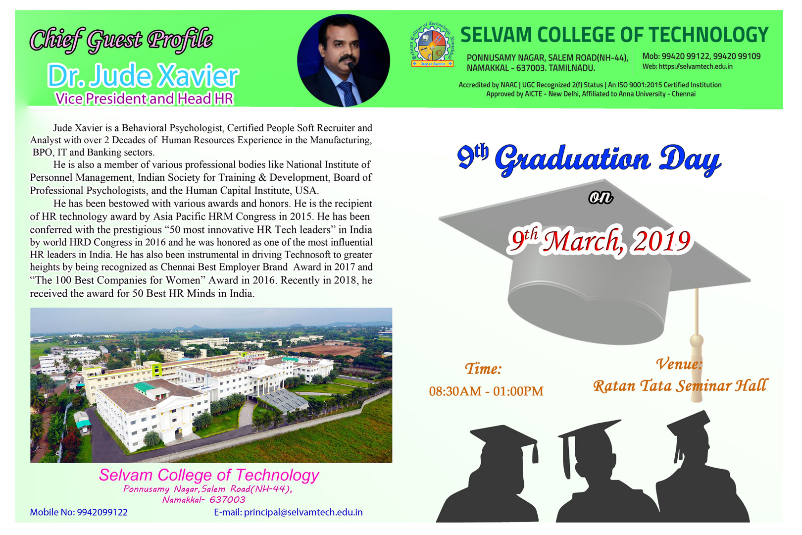 9th Graduation Ceremony will be held on 9th March 2019. 1