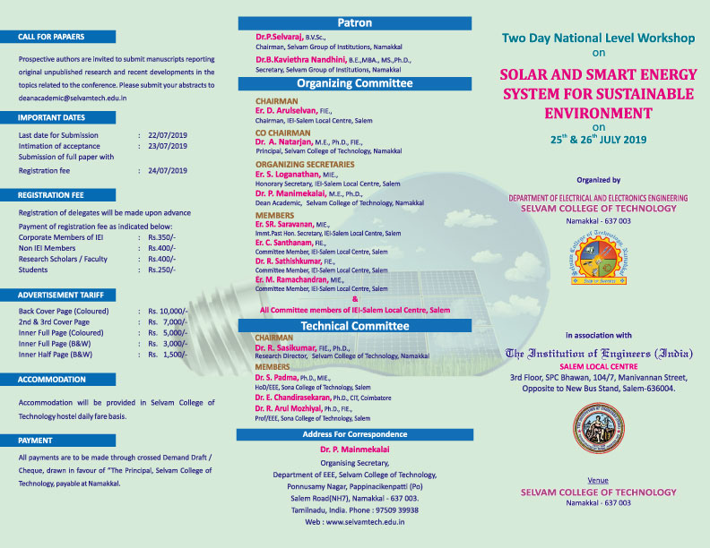 Two Days National Level Workshop on Solar and Smart Energy System for Sustainable Environment. 2
