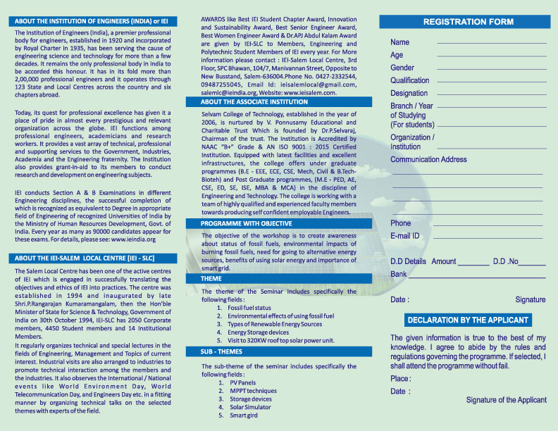 Two Days National Level Workshop on Solar and Smart Energy System for Sustainable Environment. 3