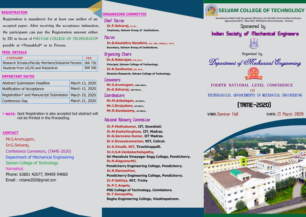 National Conference on Technological Advancements in Mechanical Engineering. 1